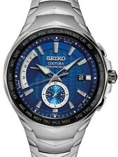 NEW Seiko SSG019 Men's Coutura Radio Sync Solar World Time Stainless Steel Watch
