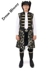 Complete Pirate Costume Ruffled Shirt Vest Pants Hat  & Boot Covers Halloween Lg