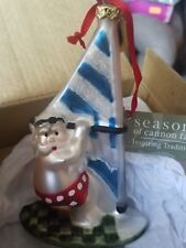 Seasons of Cannon Falls Santa Sailing Glass Ornament