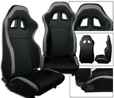 1 PAIR BLACK & GRAY CLOTH RACING SEATS RECLINABLE + SLIDERS FOR DODGE