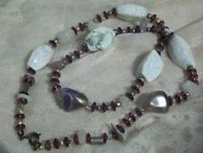 LOVELY REAL STONE, AMETHYST & QUARTZ NECKLACE WITH PURPLE GLASS SPACERS NECKLACE