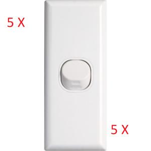 5x Pack Dexton 1 One Gang Architrave Light Switch White Slim Narrow