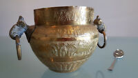 VINTAGE HANDMADE BRASS JARDINEER,  MIDDLE EASTERN OR INDIA, INTERESTING. 12.5cm