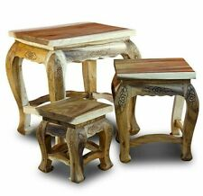 Set of 3 Side Table Wood Coffee Table Solid Wood Solid Table Set Braun