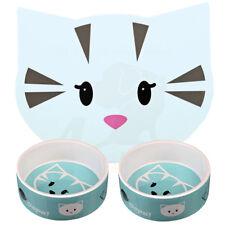 2 x Trixie Blue Mimi Ceramic Cat Kitten Bowls 0.3 l/ø 12 cm & Matching Placemat