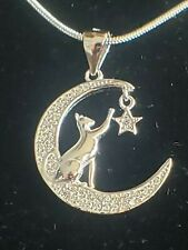 925 Sterling Silver Cat Moon Star Pendant Includes Italian Snake Chain