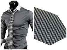 GL Fashions Mens Plaids / Checks Polyester Neckties Ties *Black & White*