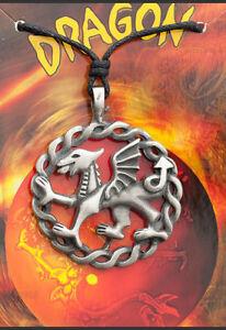 A Sospensione + Cordino Tribale Etnico Dragon IN Peltro Protezione E6 7964