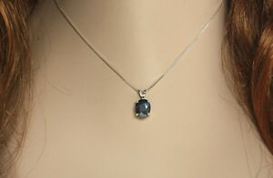 Hematite Faceted 5.53 ct 10x8mm Oval Pendant / Necklace - Sterling Silver