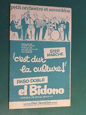 """Partition C'est dur la culture PERROT CHEVALIER """"orchestre accordéon"""" BEUSCHER"""""""