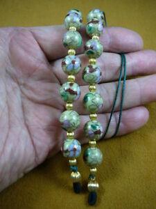(#E-66-123) Green Cloisonné Eyeglass leash holder gold necklace lanyard beaded