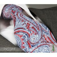 RED, WHITE, BLUE PAISLEY SILK TIE (Italian Designer Milano Exclusive)