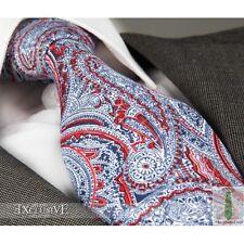 Nuevo Diseñador Italiano Rojo, blanco y azul de Paisley Corbata De Seda