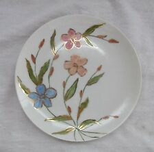 HAND PAINTED CHINA PLATE WITH PINK & BLUE FLOWERS TRIMMED IN GOLD SIGNED & DATED