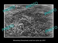 OLD LARGE HISTORIC PHOTO OF BLOOMSBURG PENNSYLVANIA AERIAL VIEW OF CITY c1935