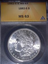 1882-S Morgan Silver Dollar, ANACS MS63, Nice For The Grade, Issue Free