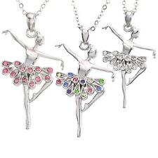 Clear Multicolor Pink Ballerina Necklace Pendant Ballet Dance Recital Gift Charm
