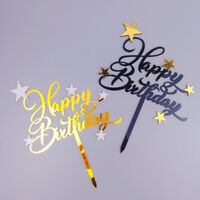 Happy Birthday Acrylic Cake Topper Black Gold Baby Shower Party Decoration New!