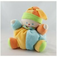 Doudou clown lutin jaune bleu orange vert COROLLE - Clown Classique