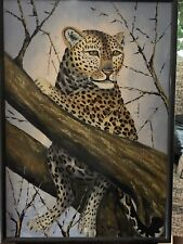 "Original African Painting ""Leopard In Tree"" Signed-  Colorful Details-Wood Frame"