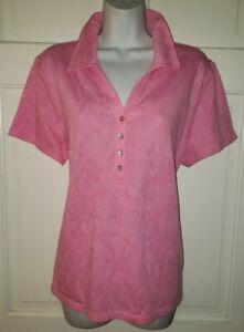 CARIBBEAN JOE Pink Cotton tropical floral textured Polo Golf Shirt. XL Ladies
