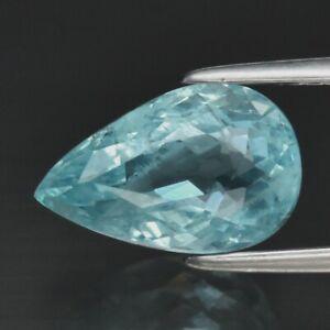 CERTIFICATE Incl.*2.59ct Pear Natural Blue Aquamarine Unheated Brazil
