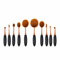 Rose Gold Oval Tooth Brush Set Cream Foundation Soft Makeup Brushes Professional