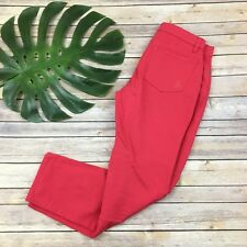 Eileen Fisher Skinny Jeans Size 6 Red Pink Organic Cotton Blend Stretch Pants