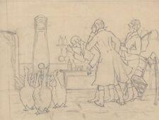 """""""3 HOMMES DEVANT TROUPEAU D'OIES"""" Dessin au crayon noir sur papier calque 1910"""