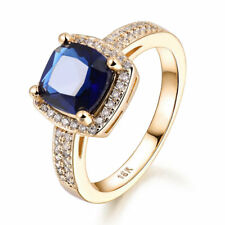 Retro Square Sapphire 18K Yellow Gold Filled Lady Banquet Wedding Finger Rings
