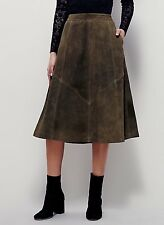NEW Free People Geometry Lesson Green Suede A-Line Midi Skirt Size 8