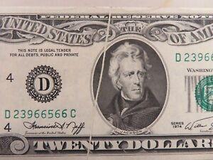 1974 $20 FRN Federal Reserve Note GUTTER FOLD ERROR