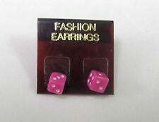 PINK DICE STUD EARRINGS