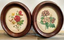 Pair Of Antique Floral Prints Wood Oval Frames Vintage Bouquet Botanical Art