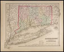 Mapa antigua 1857,Colton : Connecticut & Nueva York & Rhode Isla. ESTADOS UNIDOS