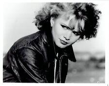 1987 Vintage Photo actress Renee Soutendijk models leather jacket fashion on set