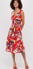 Monsoon Jessie Print Fit & Flare Midi Dress Size 12 Red Multi