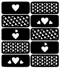 Hearts Nail Art Vinyl Stencil Guide Sticker Manicure Hollow Template