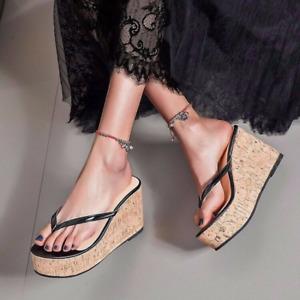 Ladies Wedge High Heel Platform Flip Flops Clip Toe Thong Sandals Clog Slippers