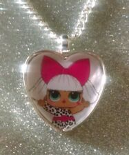 Silver Plated Heart Pendant Necklace LOL Doll Surprise Diva