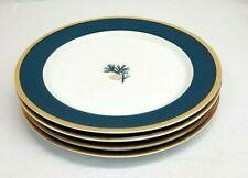 """Vintage Eddie Bauer Home PINE CONE Green & Gold Trim 11"""" DINNER Plates Set of 4"""
