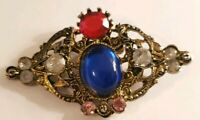 Vintage Goldtone Crown Filigree Pin Red Blue Rhinestone Antiqued Metal Brooch