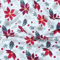 Moda Tela Nevada impresiones Holly Poinsettia Rojo-por 1//4 Metro