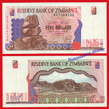 ZIMBABWE 5 Dollars dolares 1997 Pick 5b SC / UNC