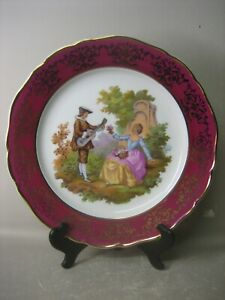 Large GARANTI OR VERITABLE Limoges France decorative plate and stand RARE