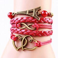 Pulsera para Mujer moda artesanal amor infinito trenzado de Cuero Regalo de lujo