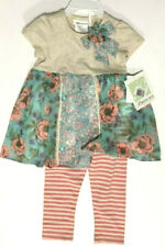 Toddler Bonnie Jean Floral Tunic with Pink Striped Leggins 2T