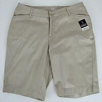 St John's Bay Bermuda Khaki Shorts Beige Tan Secretly Slender Sz 14W Mid Zip NWT