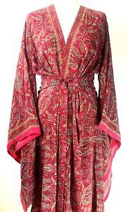 Boho hippie 100% SILK Beach Kimono Cover Up Belt Wrap Long Dress PINK One size