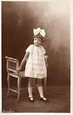 BJ429 Carte Photo vintage card RPPC enfant mode fashion robe blanche dress